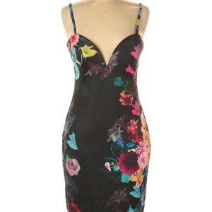 Bebe Satin Floral Midi Dress M